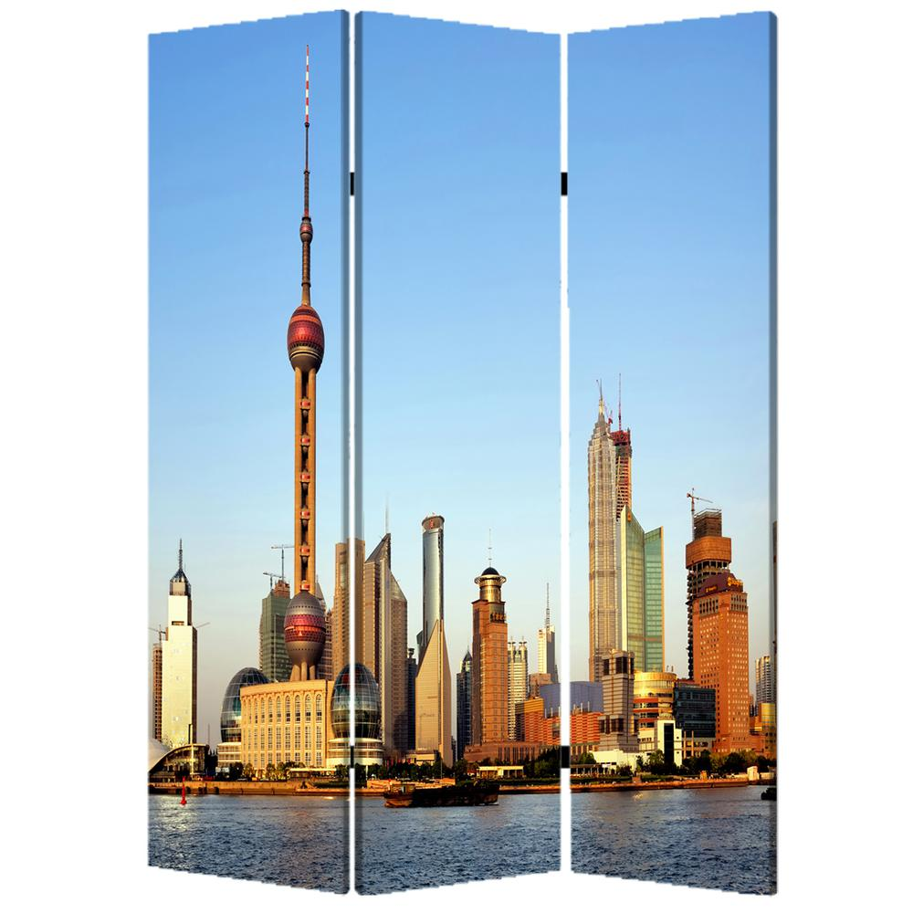 """1"""" x 48"""" x 72"""" Multi Color Wood Canvas China  Screen - 277080. Picture 1"""