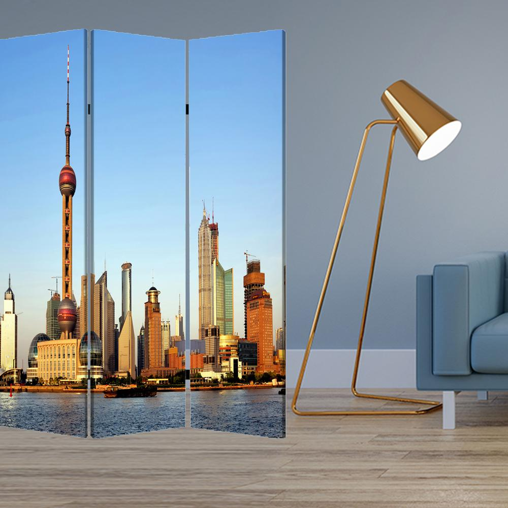 """1"""" x 48"""" x 72"""" Multi Color Wood Canvas China  Screen - 277080. Picture 2"""