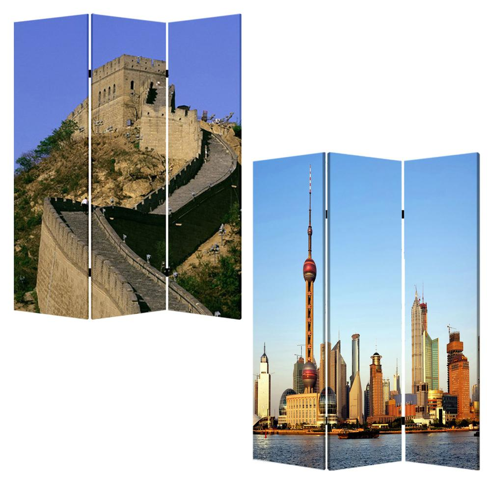 """1"""" x 48"""" x 72"""" Multi Color Wood Canvas China  Screen - 277080. Picture 3"""