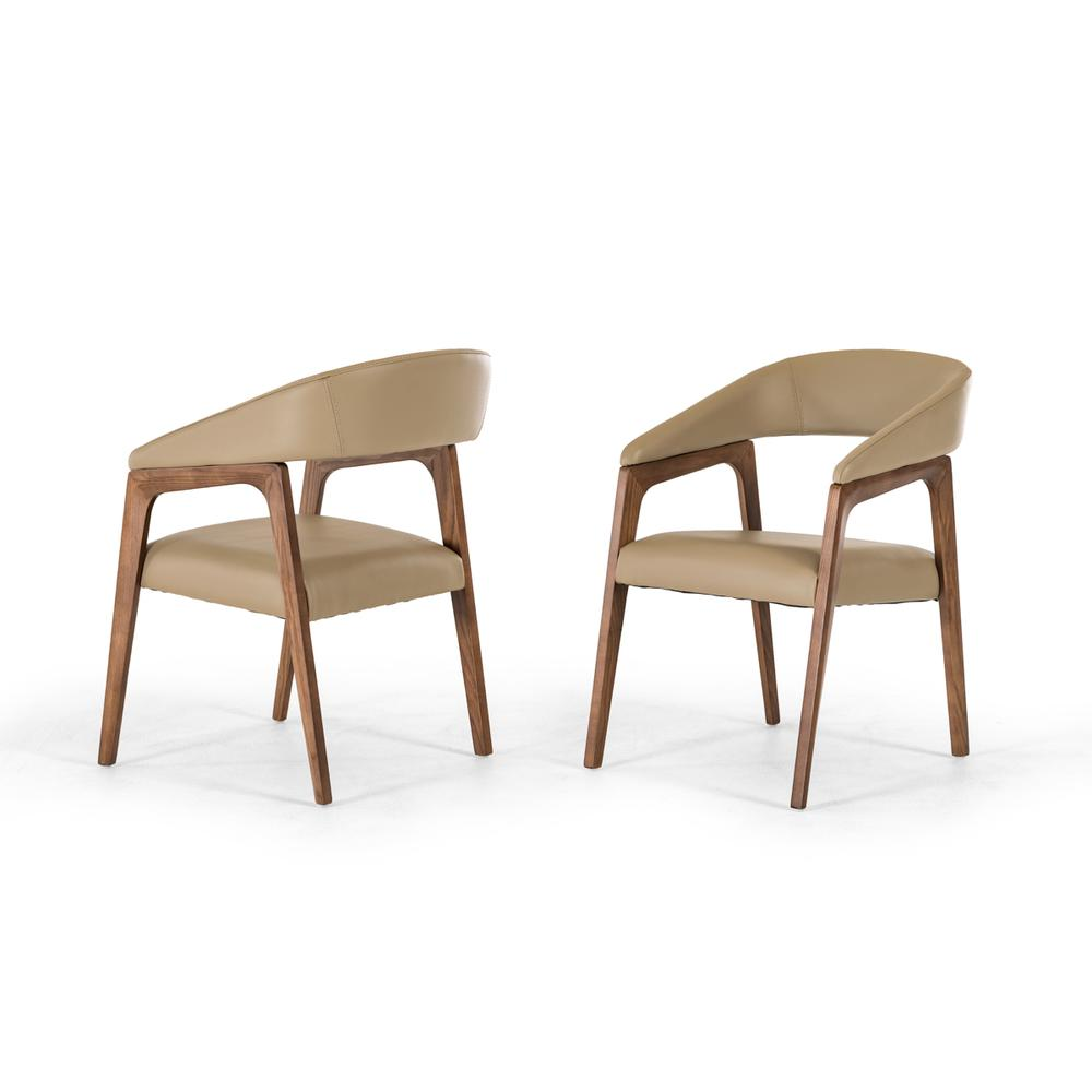 """31"""" Taupe Leatherette and Walnut Wood Dining Chair - 283002. Picture 1"""