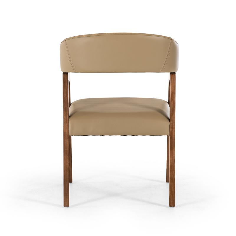 """31"""" Taupe Leatherette and Walnut Wood Dining Chair - 283002. Picture 3"""