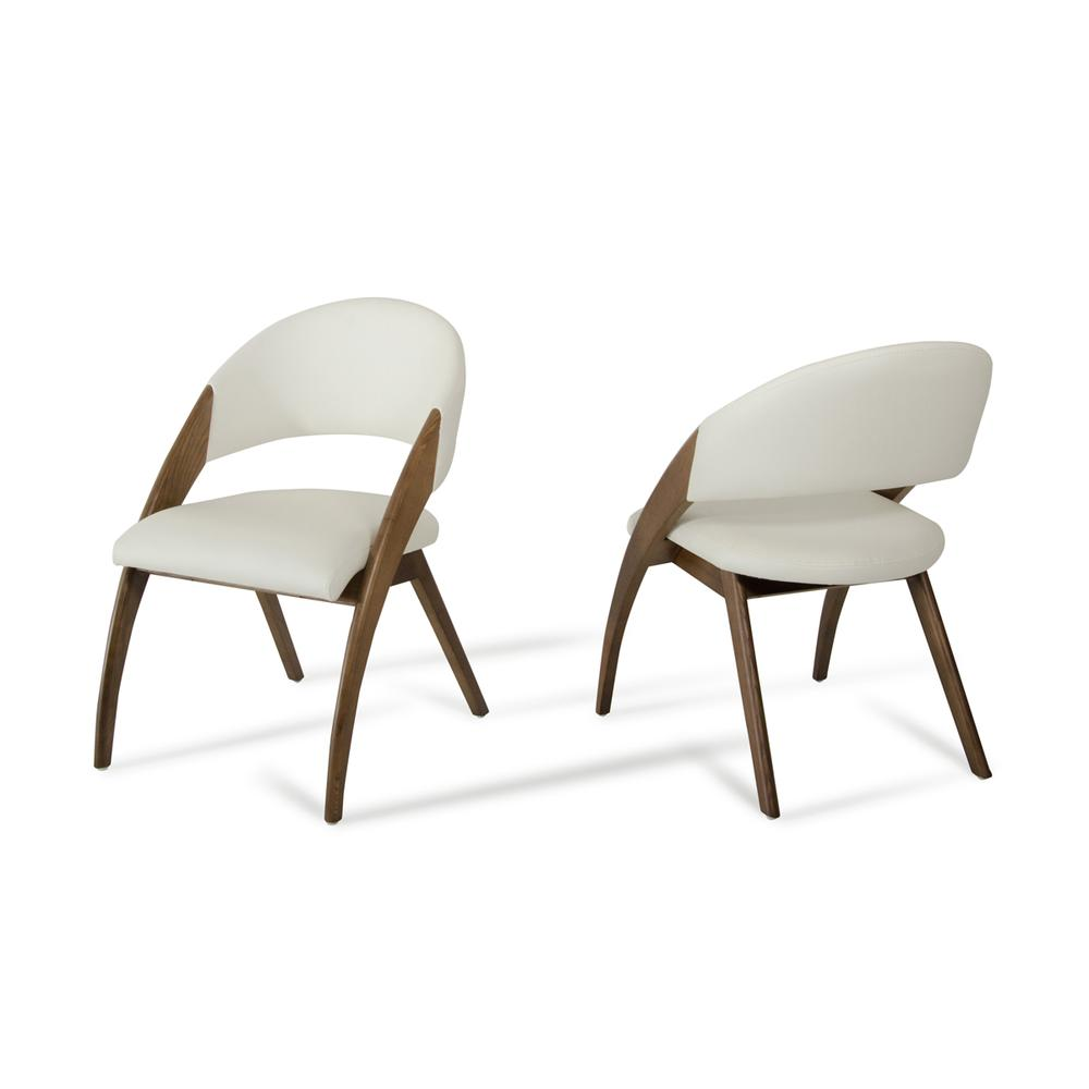 """31"""" Walnut Wood and Cream Leatherette Dining Chair - 283004. Picture 1"""
