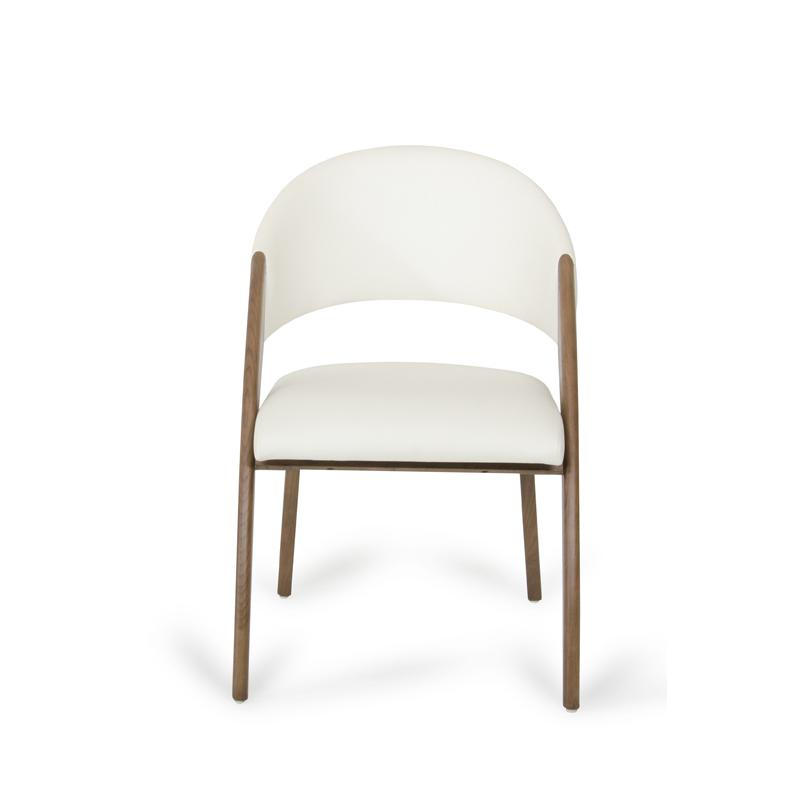 """31"""" Walnut Wood and Cream Leatherette Dining Chair - 283004. Picture 2"""