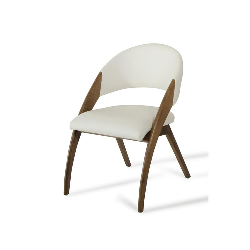 """31"""" Walnut Wood and Cream Leatherette Dining Chair - 283004. Picture 3"""