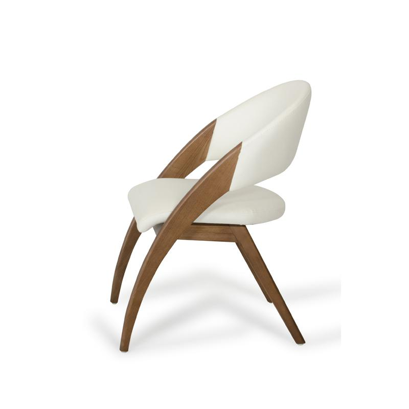 """31"""" Walnut Wood and Cream Leatherette Dining Chair - 283004. Picture 4"""