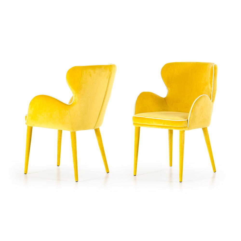 """33"""" Yellow Fabric and Metal Dining Chair - 283127. Picture 1"""