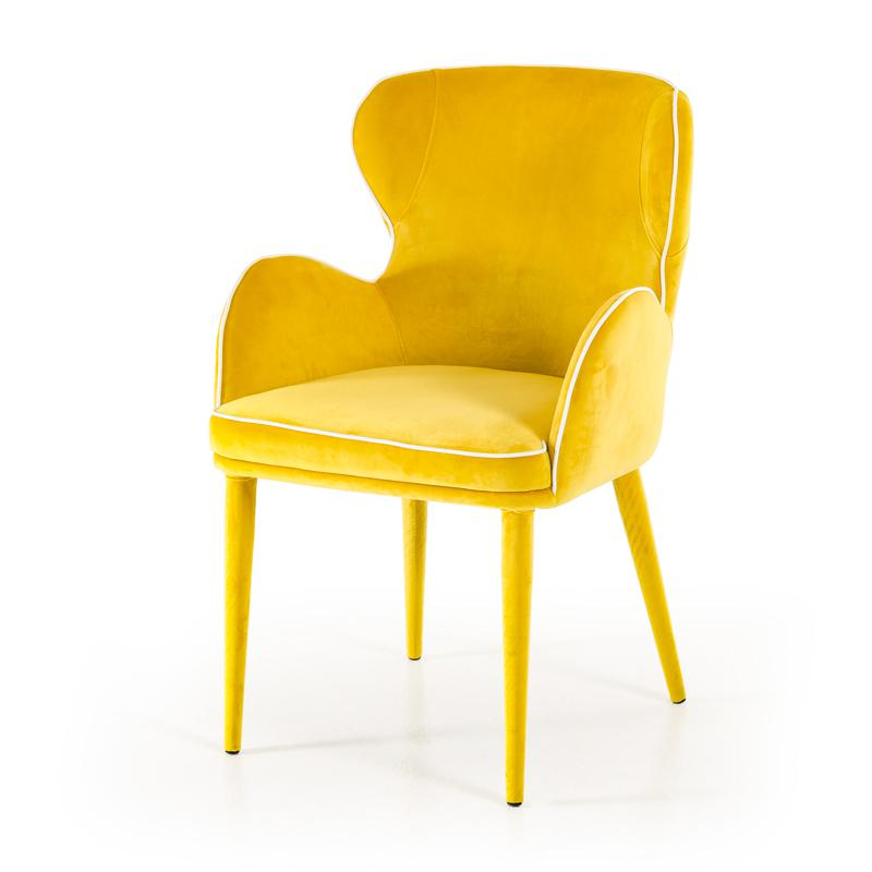 """33"""" Yellow Fabric and Metal Dining Chair - 283127. Picture 2"""