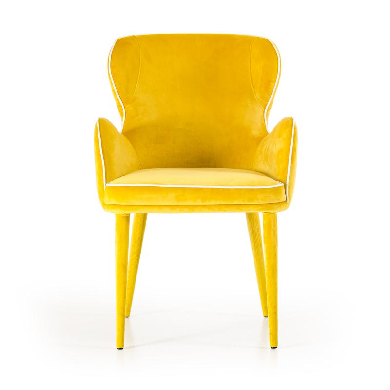 """33"""" Yellow Fabric and Metal Dining Chair - 283127. Picture 3"""