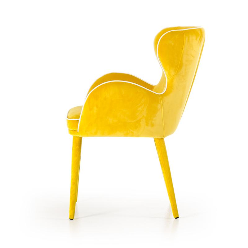 """33"""" Yellow Fabric and Metal Dining Chair - 283127. Picture 4"""