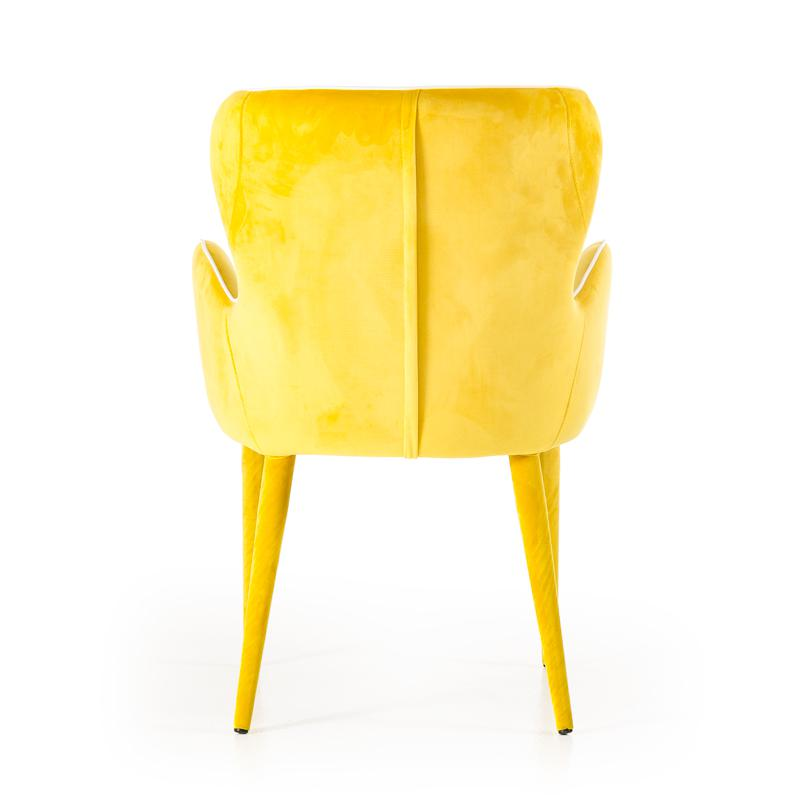 """33"""" Yellow Fabric and Metal Dining Chair - 283127. Picture 5"""