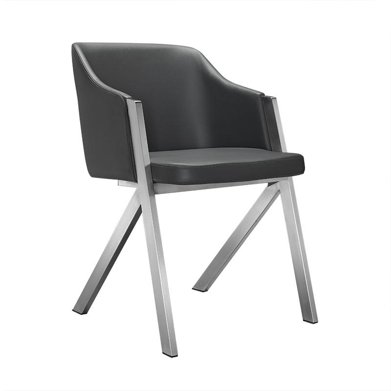 """Two 29"""" Grey Leatherette and Steel Dining Chairs - 283207. Picture 1"""