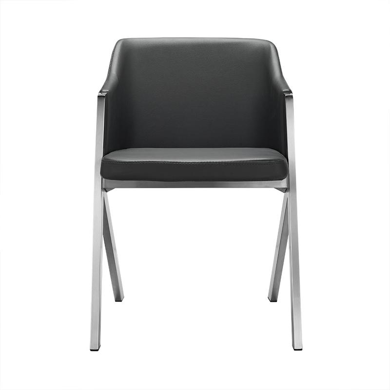"""Two 29"""" Grey Leatherette and Steel Dining Chairs - 283207. Picture 2"""