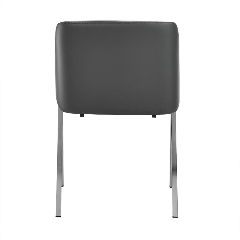 """Two 29"""" Grey Leatherette and Steel Dining Chairs - 283207. Picture 4"""