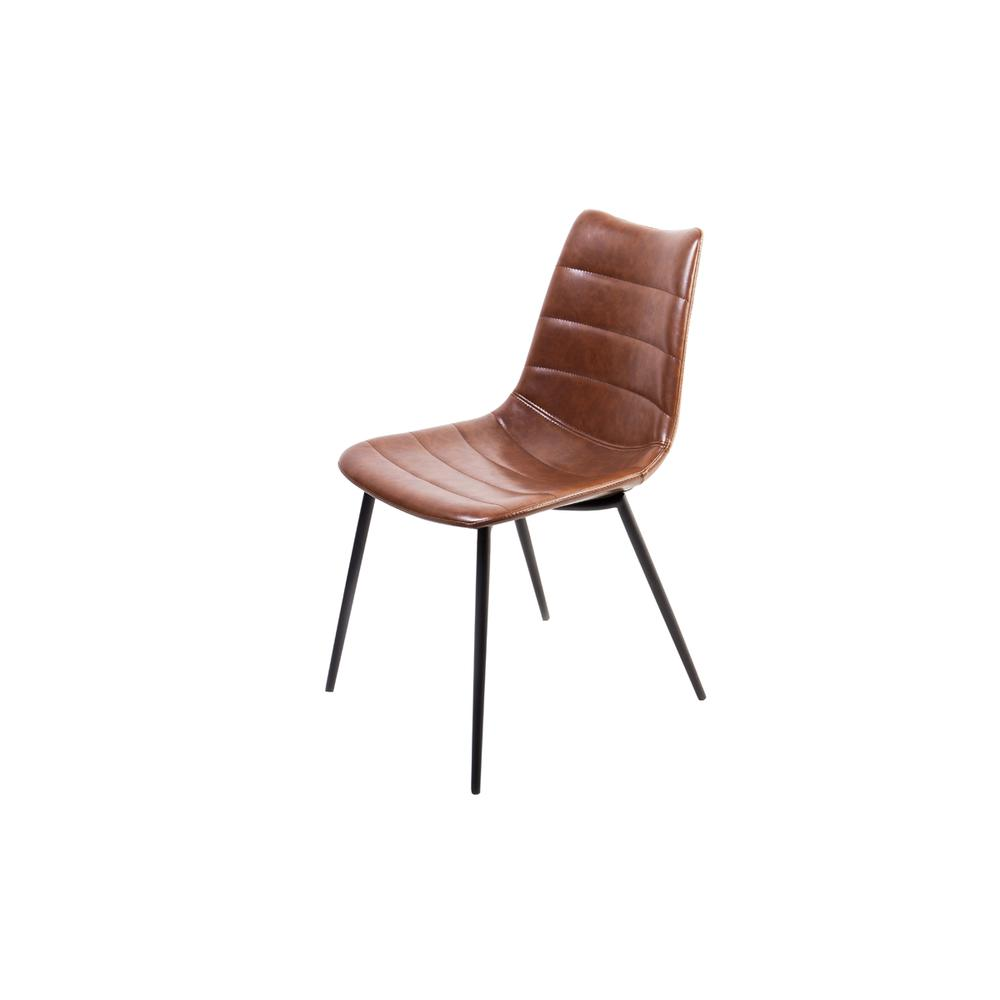 """Two 32"""" Brown Leatherette and Iron Dining Chairs - 283469. Picture 1"""