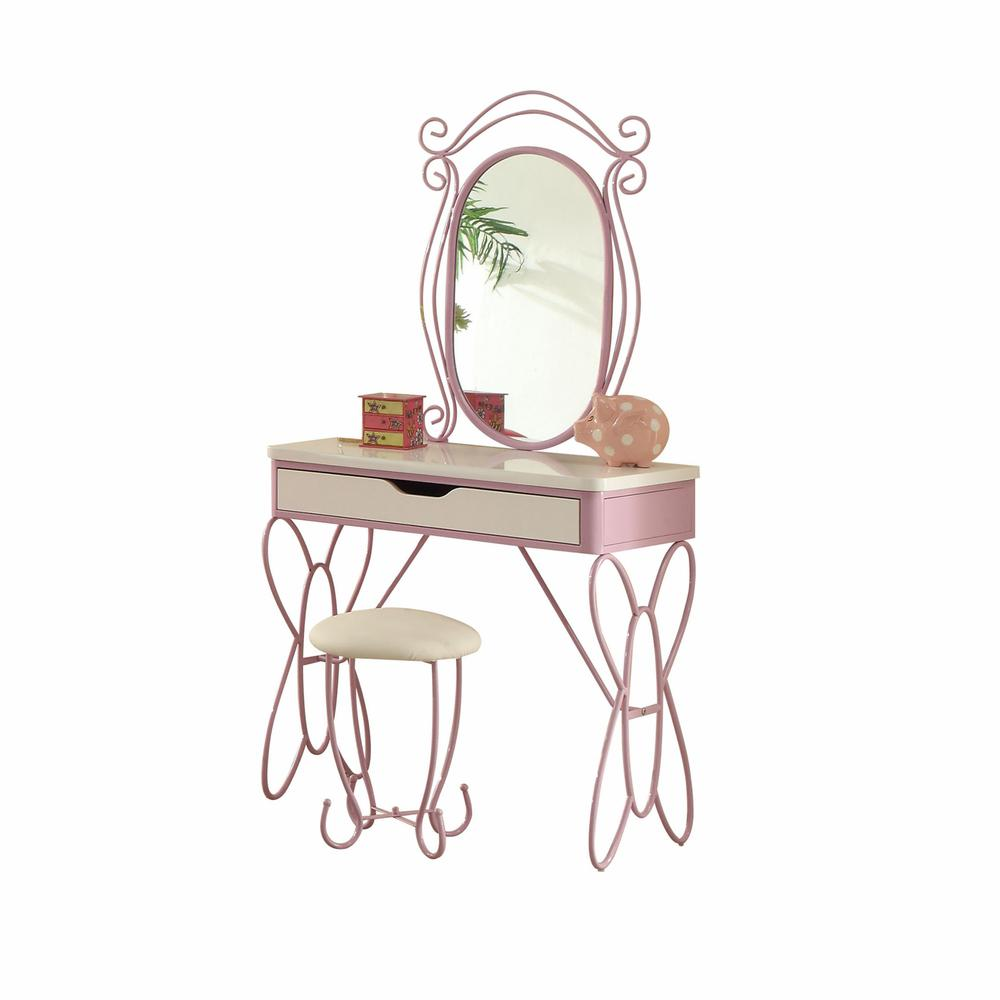 Lilac and White Butterfly Design Desk Vanity Dressing Table - 285579. Picture 1