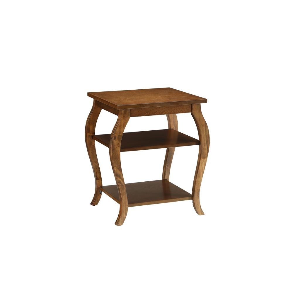 Walnut Finish Bow Leg Square End Table - 286311. Picture 1