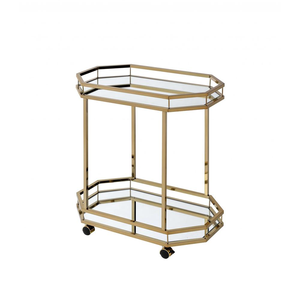 Champagne Finish Metal Serving Cart with 2 Mirror Shelves - 286460. Picture 1