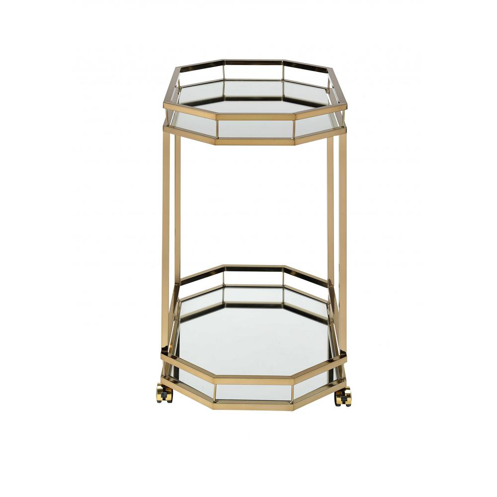 Champagne Finish Metal Serving Cart with 2 Mirror Shelves - 286460. Picture 2