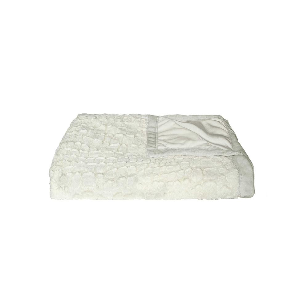 """50"""" x 70"""" Ivory Mink Faux Hide Throw - 293155. Picture 1"""