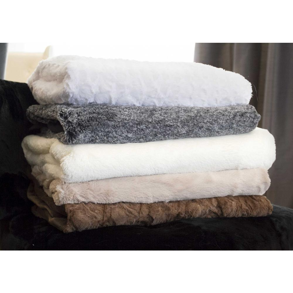 """50"""" x 70"""" Ivory Mink Faux Hide Throw - 293155. Picture 4"""