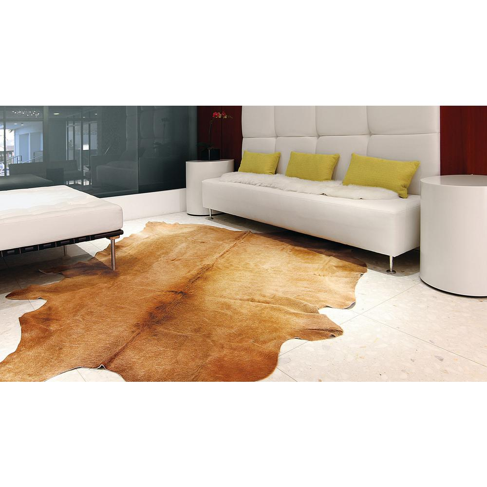 6' x 7' Golden Honey Exotic Cowhide Area Rug - 293170. Picture 4