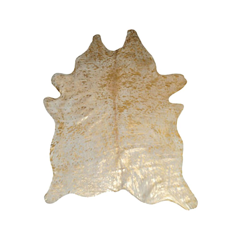 6' x 7'  Natural and Gold Genuine Cowhide Area Rug - 293171. Picture 1