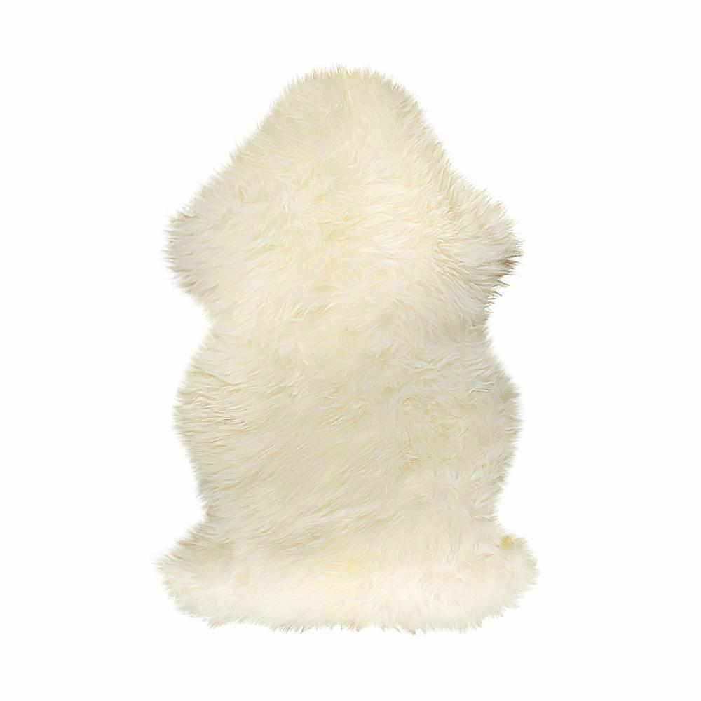 2' x 3'  Natural New Zealand Sheepskin Wool Area Rug in White - 293188. Picture 1