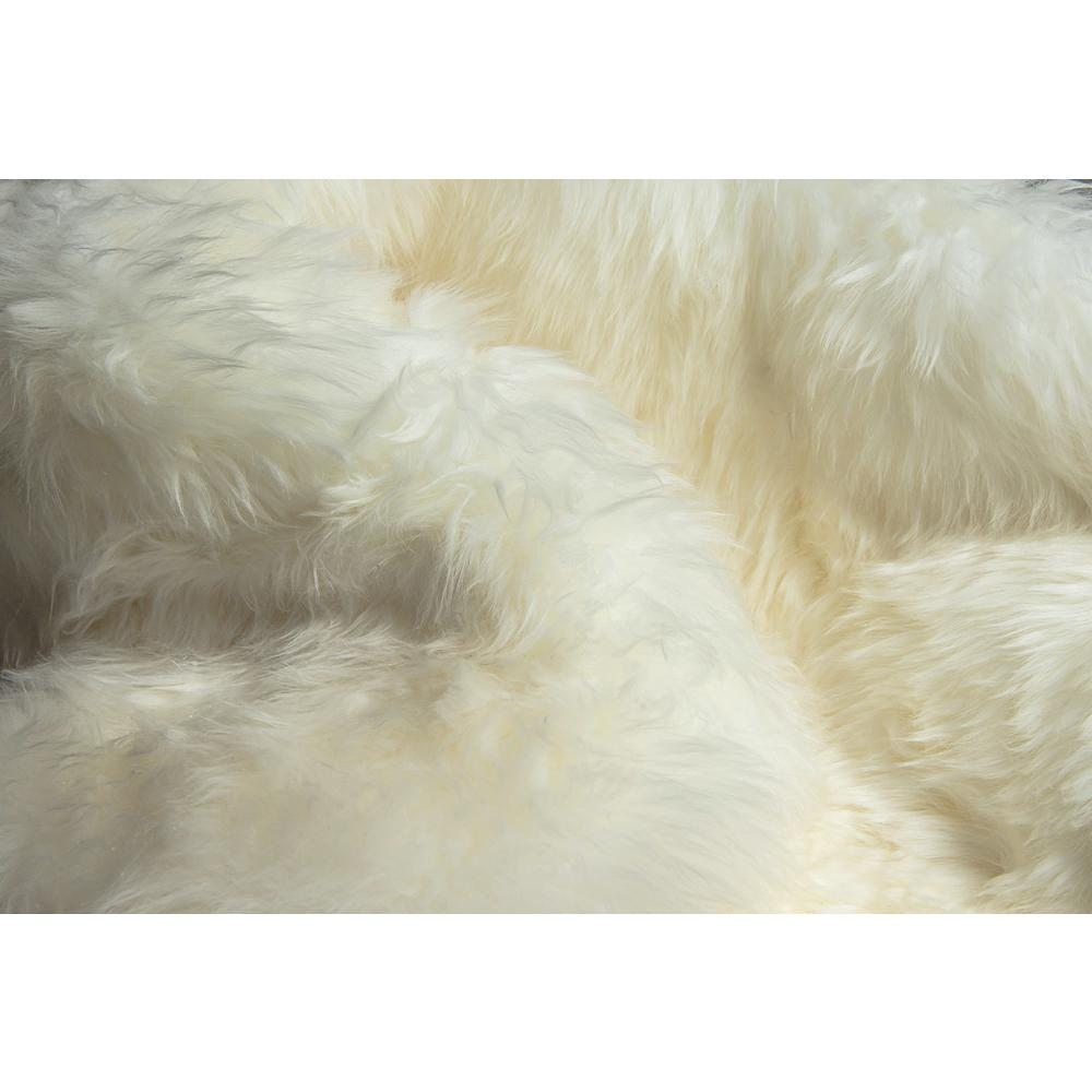 2' x 3'  Natural New Zealand Sheepskin Wool Area Rug in White - 293188. Picture 2