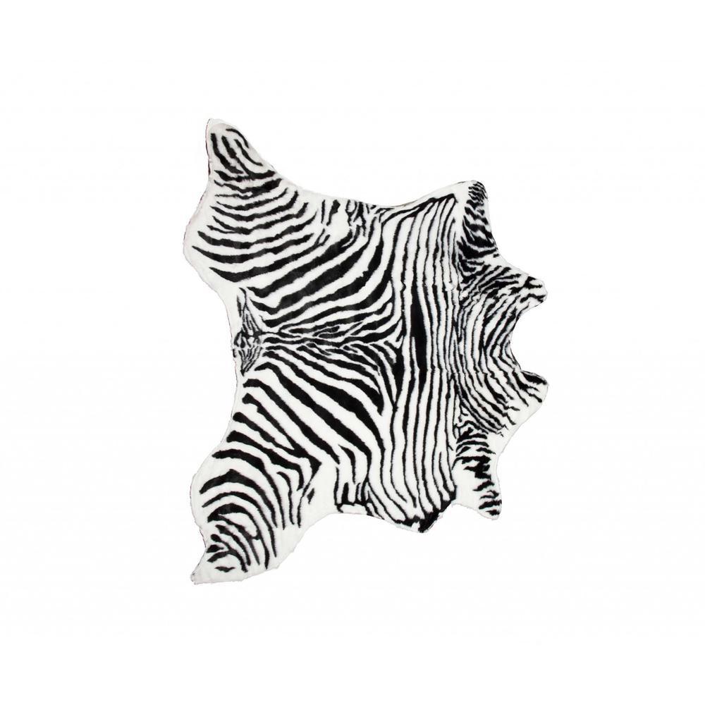 4' x 5' Faux Zebra Hide Black And White Area Rug - 294240. Picture 1