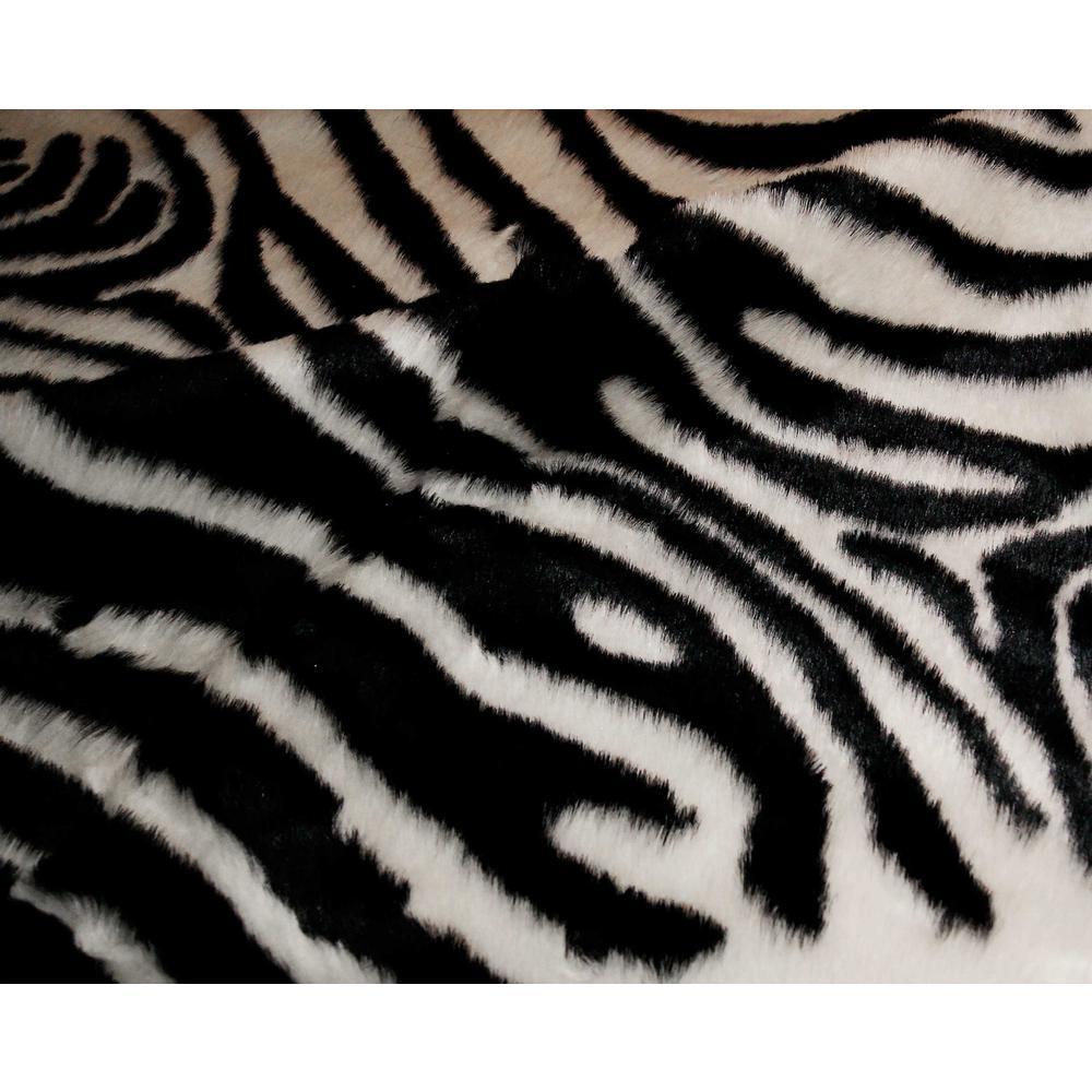 4' x 5' Faux Zebra Hide Black And White Area Rug - 294240. Picture 2