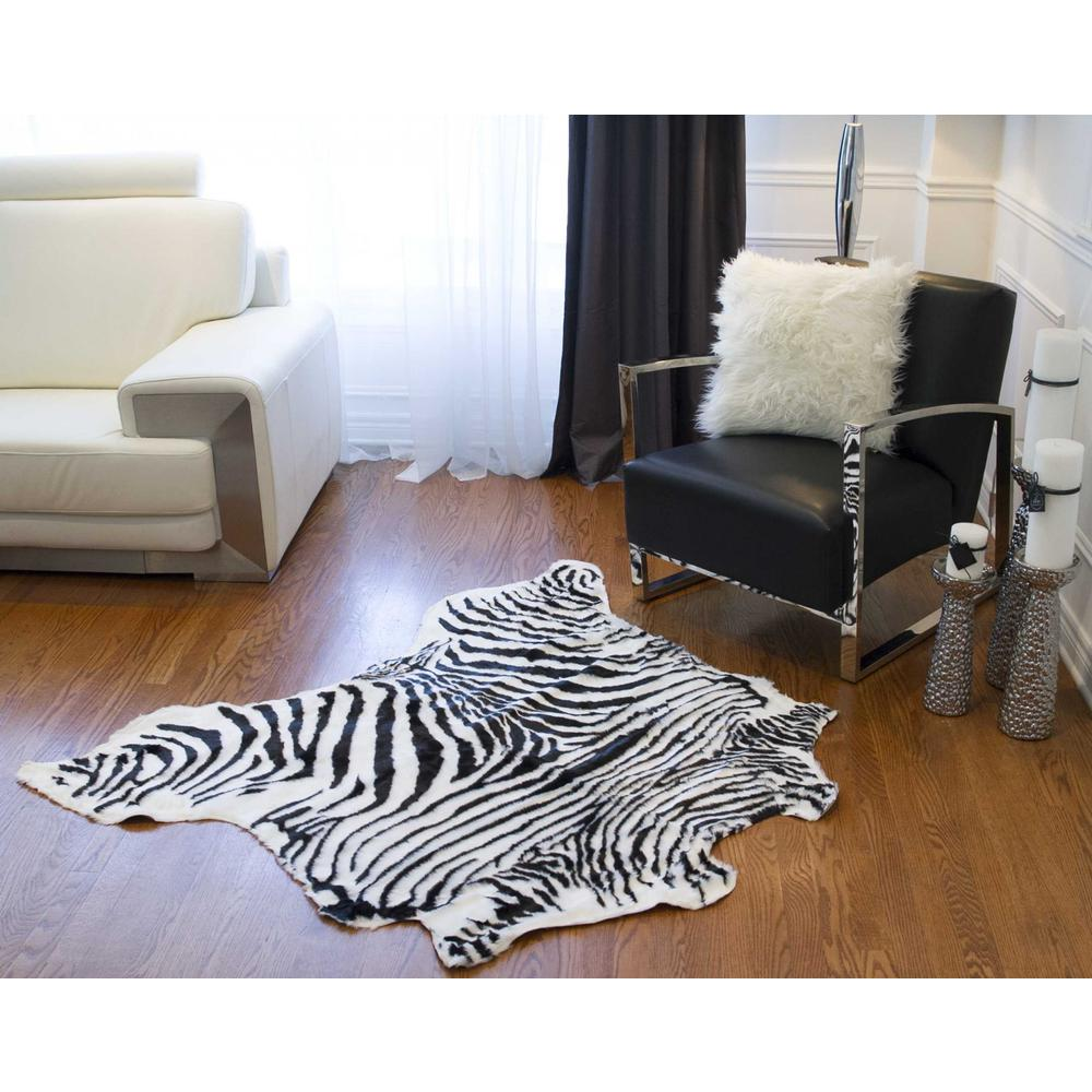 4' x 5' Faux Zebra Hide Black And White Area Rug - 294240. Picture 3