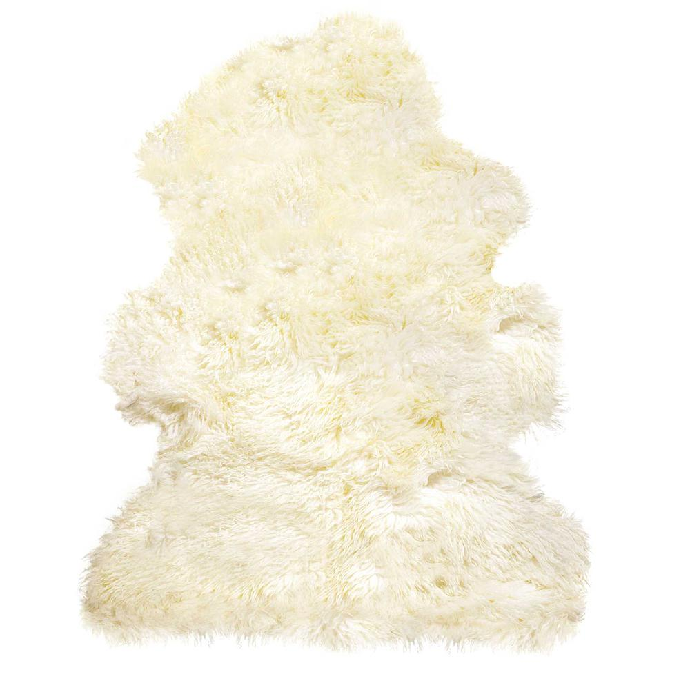 2' x 3'  Natural New Zealand Sheepskin Wool  Area Rug - 294268. Picture 1