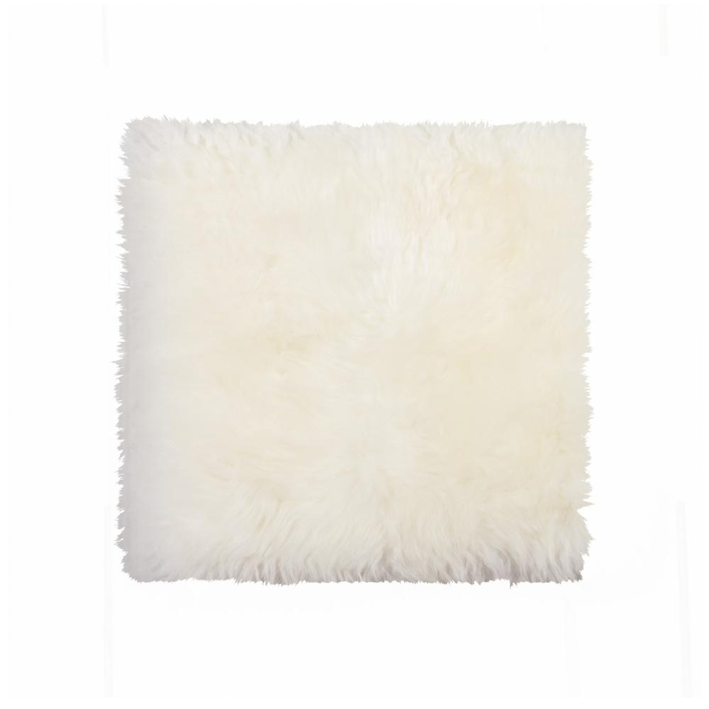 White Natural Sheepskin Chair Seat Cover - 317152. Picture 1