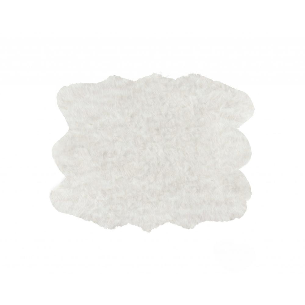 """60"""" x 72"""" x 1.5"""" Off White, Faux Sheepskin - Area Rug - 317188. Picture 1"""
