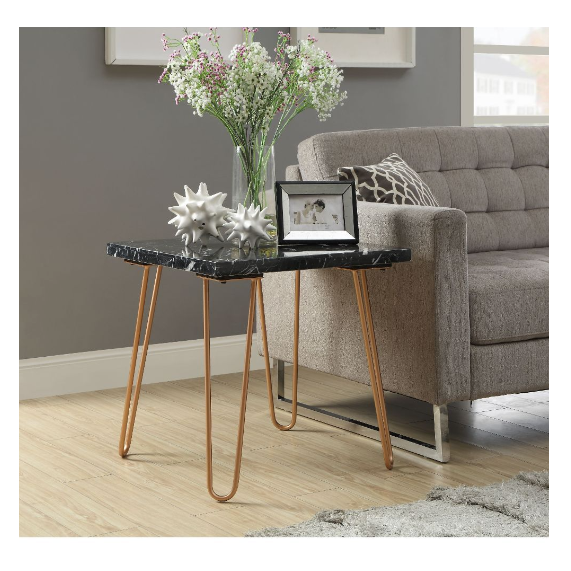 Black Marble and Gold Geometric End Table - 319158. Picture 4