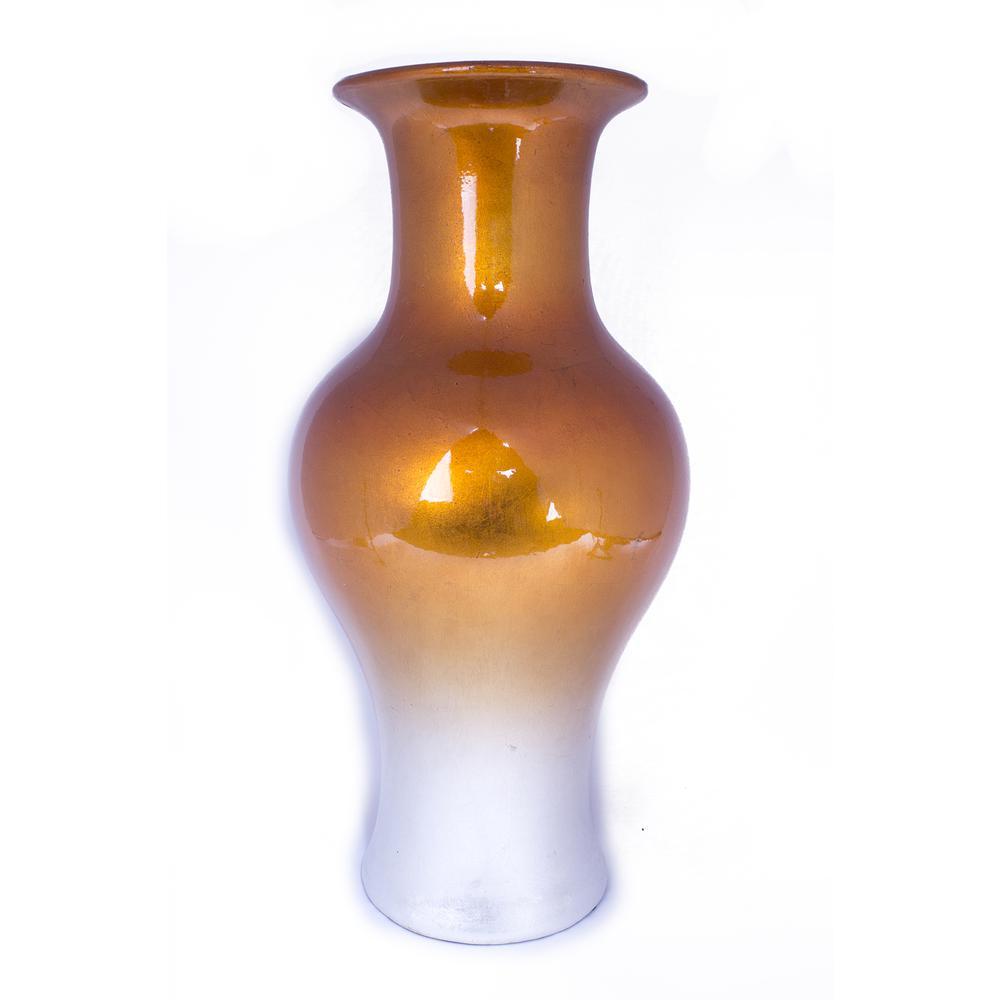 """13"""" X 13"""" X 18"""" Orange And White Ceramic Lacquered Ceramic Vase - 319697. Picture 1"""