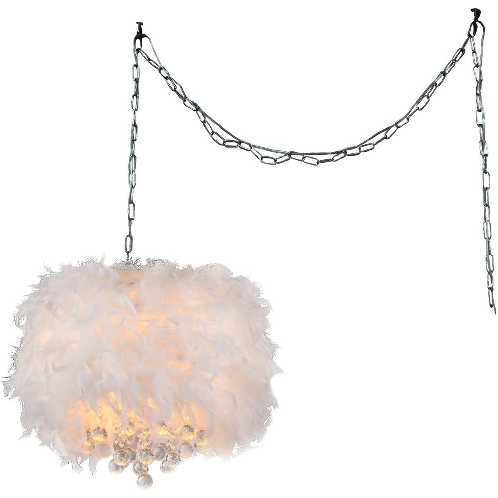 Finna 3-light Feathered 15-inch Chrome Swag Lamp - 320258. Picture 1