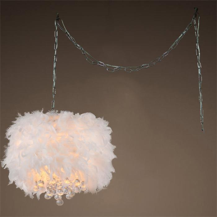 Finna 3-light Feathered 15-inch Chrome Swag Lamp - 320258. Picture 2