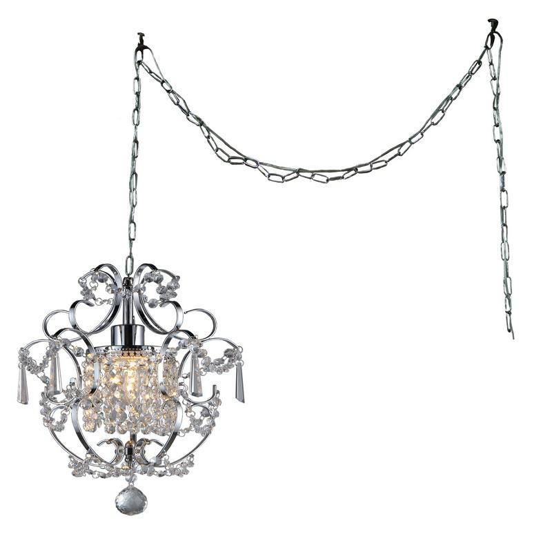 Cynthia 1-light Crystal 11-inch Chrome Swag Lamp - 320272. Picture 1