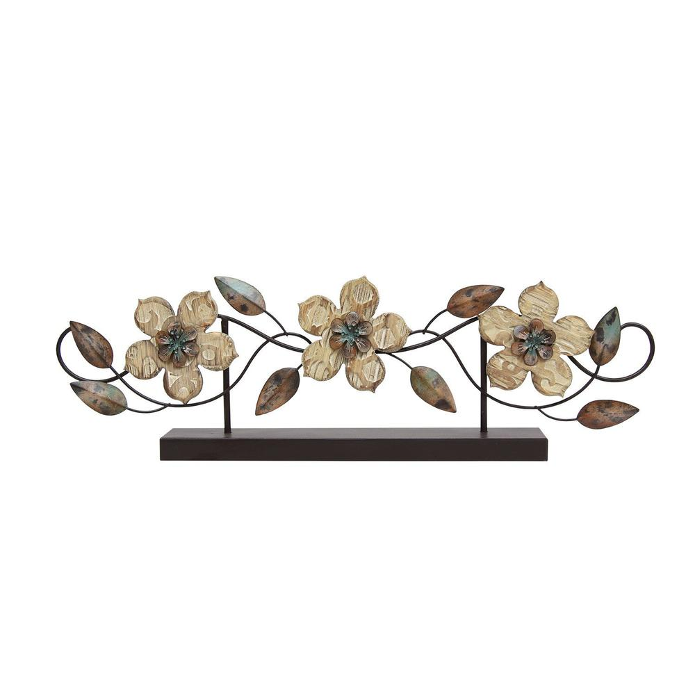 Stamped Wood and Metal Flower Table Top - 321110. Picture 1