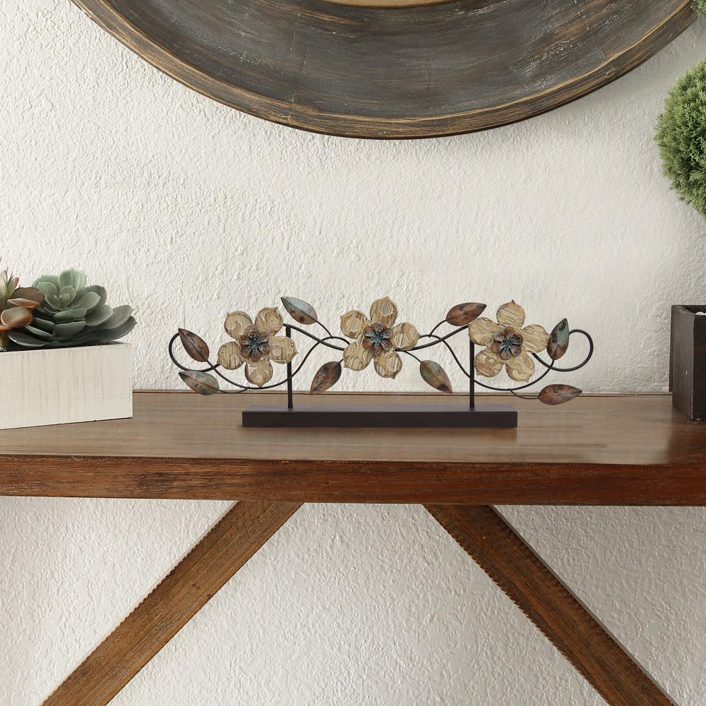 Stamped Wood and Metal Flower Table Top - 321110. Picture 2