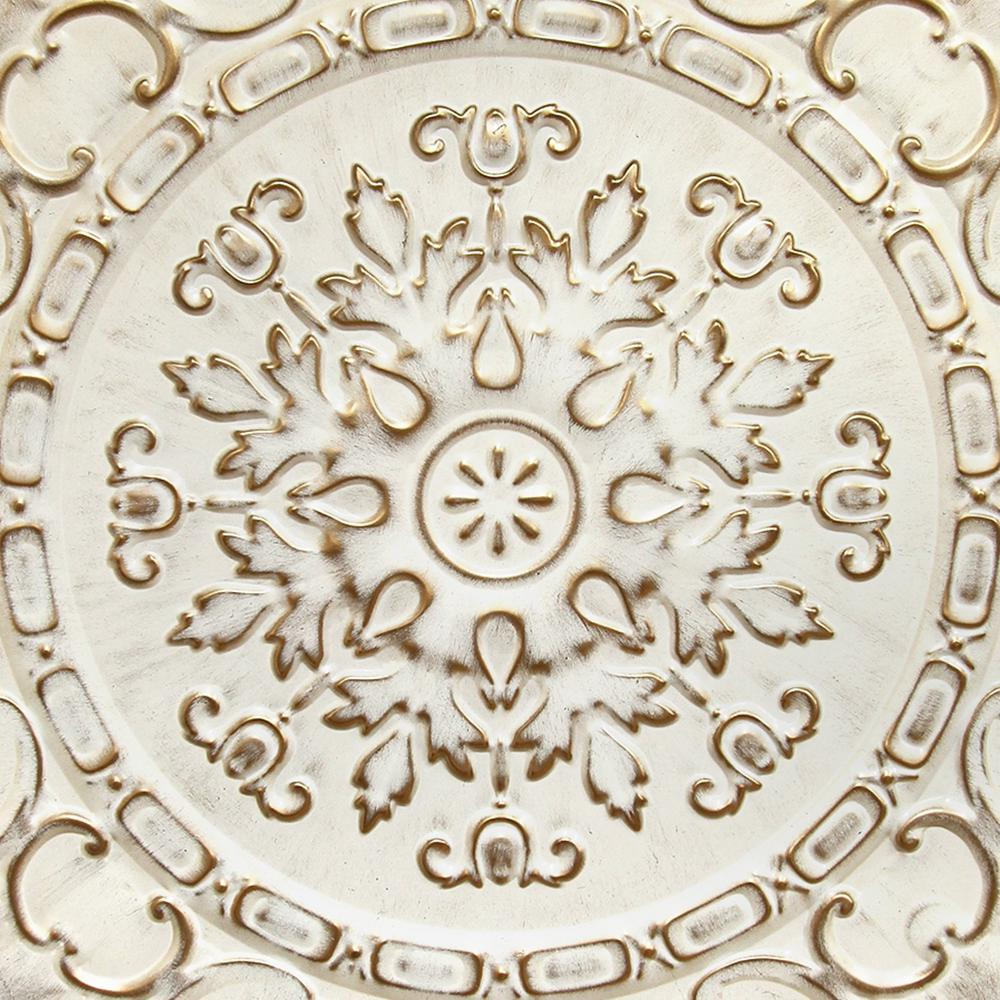 Distressed White European Medallion Metal Wall Decor - 321201. Picture 3