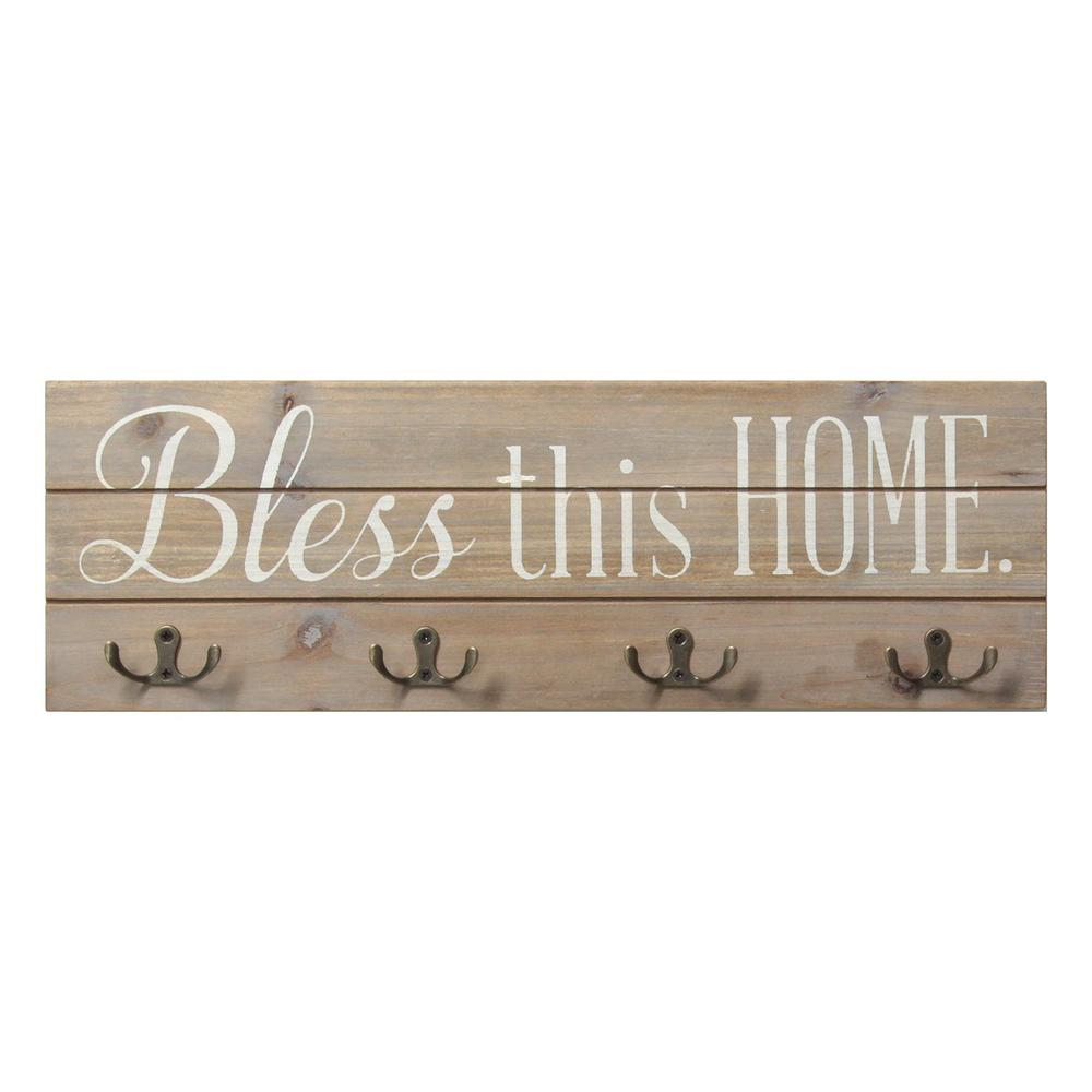 Farmhouse Rustic Bless This Home Wall Hanging with Hooks - 321252. Picture 1