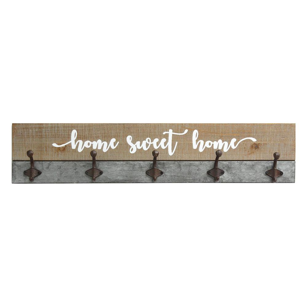 Distressed Home Sweet Home Wood Coat Rack Wall Hanging - 321270. Picture 1