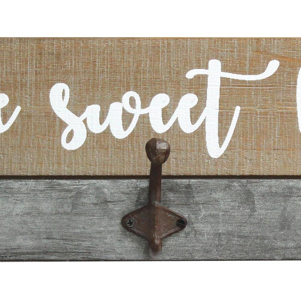 Distressed Home Sweet Home Wood Coat Rack Wall Hanging - 321270. Picture 4