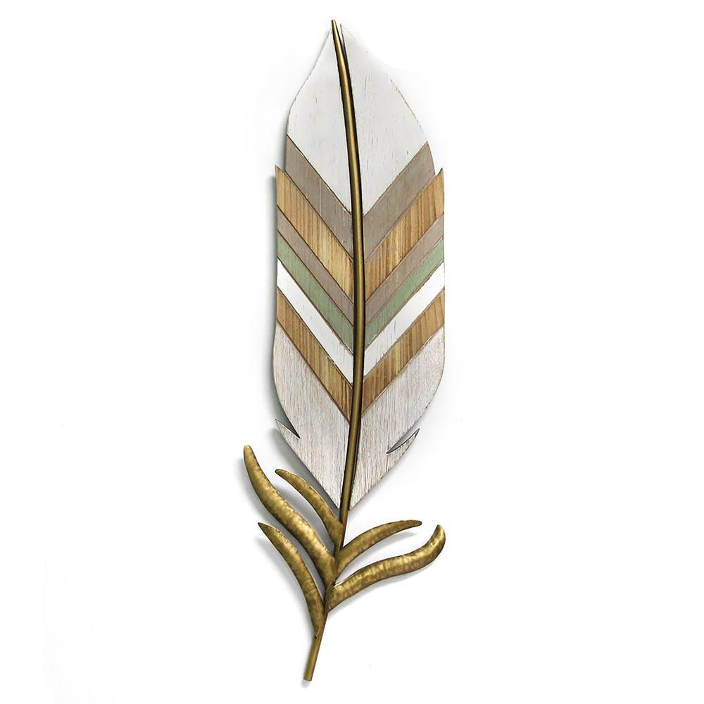 Distressed Boho Feather Metal and Wood Wall Decor - 321276. Picture 1