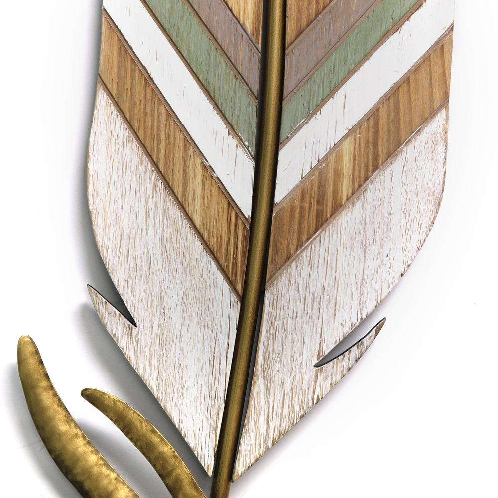 Distressed Boho Feather Metal and Wood Wall Decor - 321276. Picture 3
