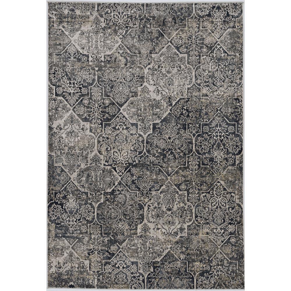 8'x11' Grey Machine Woven Traditional Quatrefoil Indoor Area Rug - 375152. Picture 1