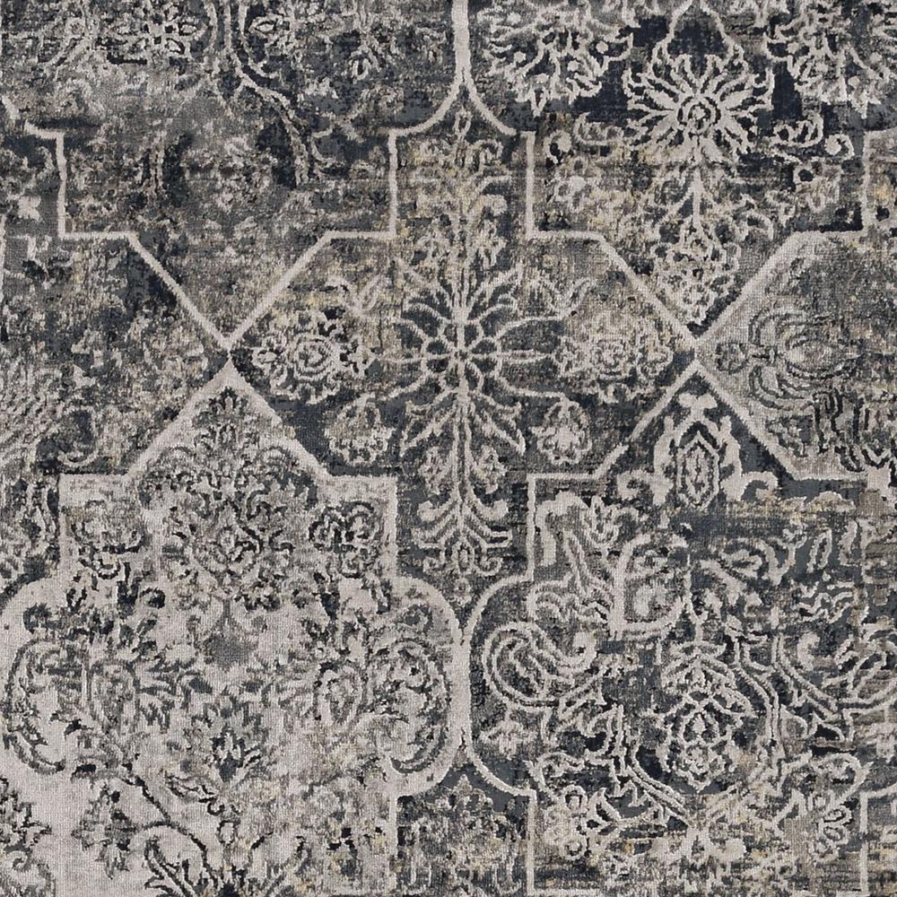 8'x11' Grey Machine Woven Traditional Quatrefoil Indoor Area Rug - 375152. Picture 2
