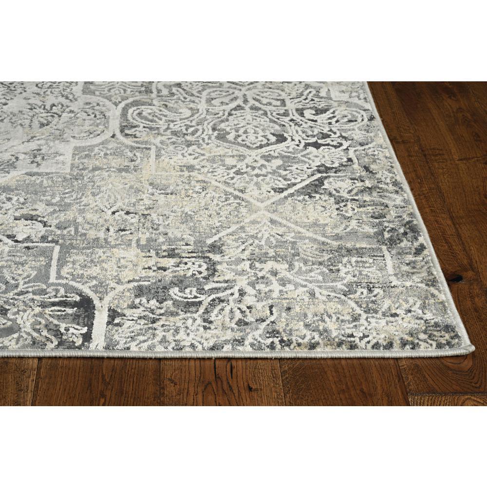 8'x11' Grey Machine Woven Traditional Quatrefoil Indoor Area Rug - 375152. Picture 3